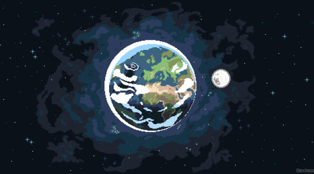 Earth Day Pixel Art Wallpaper 1440x2560 Resolution