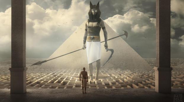 HD Wallpaper | Background Image Egypt Warrior Illustration Anubis Pyramid Fantasy Art