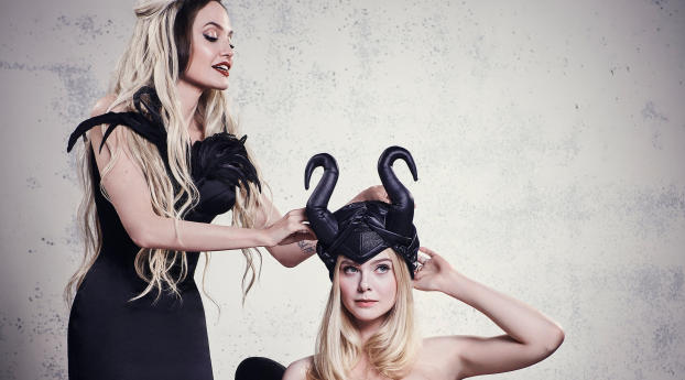 Elle Fanning As Maleficent Cosplay with Angelina Jolie Wallpaper