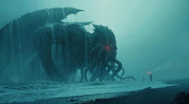 Fantasy Cthulhu Sea Monster Wallpaper 320x240 Resolution