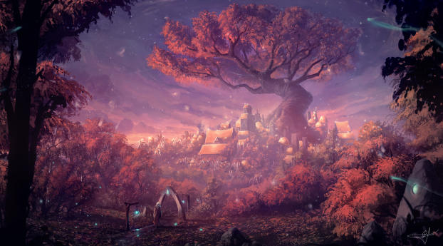 HD Wallpaper | Background Image Fantasy Forest City