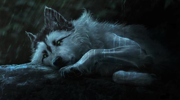 Fantasy Wolf Painting Wallpaper