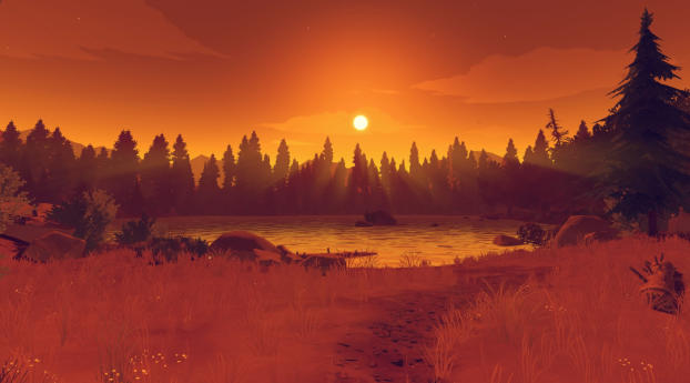Firewatch Orange Sunset Wallpaper
