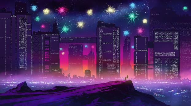 Fireworks in Futuristic City Wallpaper