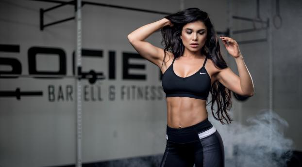Fitness Model Black Dress Wallpaper 1920x1200 Resolution