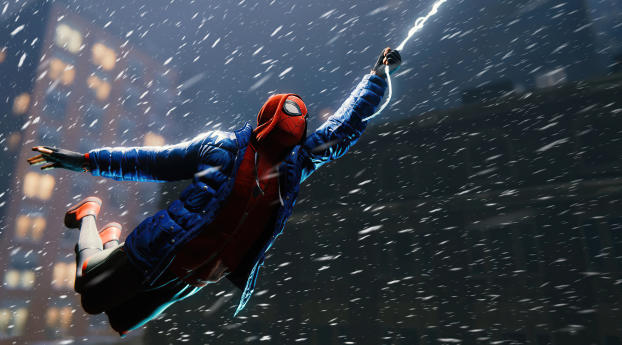 Flying Miles Morales Marvels Spider-Man Wallpaper