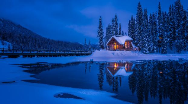 Forest House Covered in Snow 4K Wallpaper