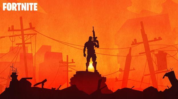 Fortnite Warrior Silhouette In Sunset Wallpaper