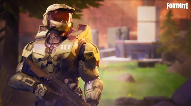 Fortnite x Master Chief Halo Wallpaper 2560x1024 Resolution