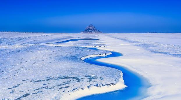 France Landscape Mont Saint-Michel Snow Wallpaper