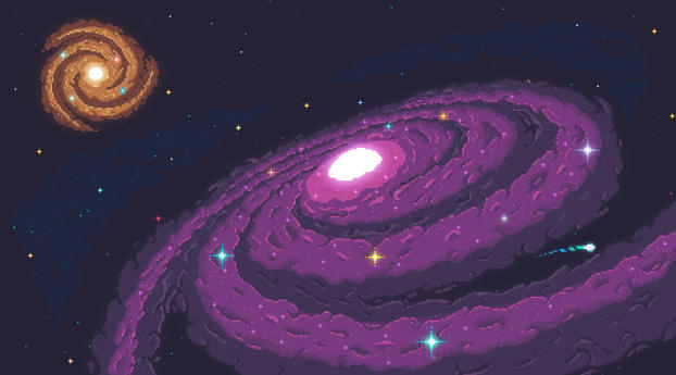 Galaxies Pixel Art Wallpaper