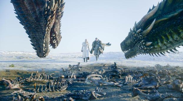 HD Wallpaper | Background Image Game Of Thrones Season 8 Jon Snow and Daenerys Targaryen in Winterfell Episode 1