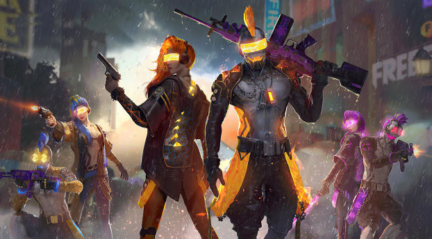 Garena Free Fire Cyborgs Wallpaper in 2560x1080 Resolution