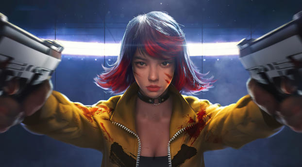 Garena Free Fire Gun Girl Wallpaper in 360x640 Resolution
