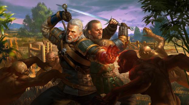 Geralt of Rivia and Vesemir Wallpaper