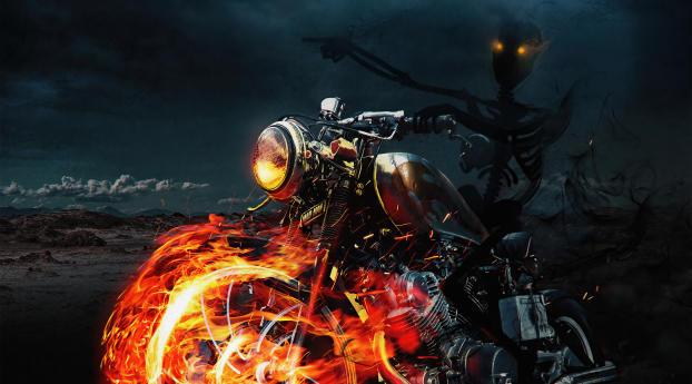 Ghost Rider Spooky Marvel Art Wallpaper 1024x768 Resolution