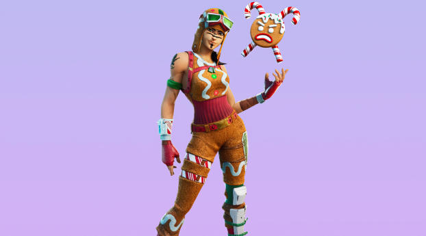 Gingerbread Raider Skin Outfit 4K Wallpaper