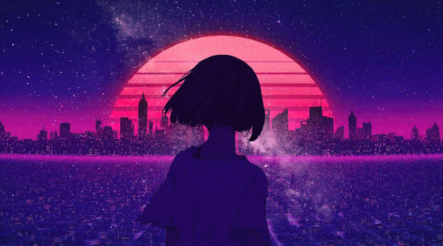 Girl and Synth Retro Wave Wallpaper 1440x2960 Resolution