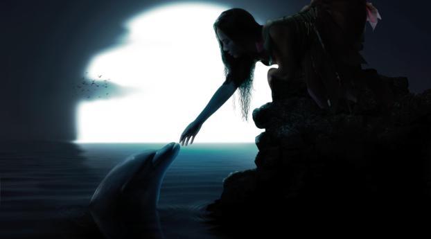 girl, dolphin, friendship Wallpaper