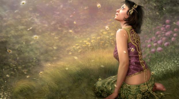 girl, grass, fantasy Wallpaper