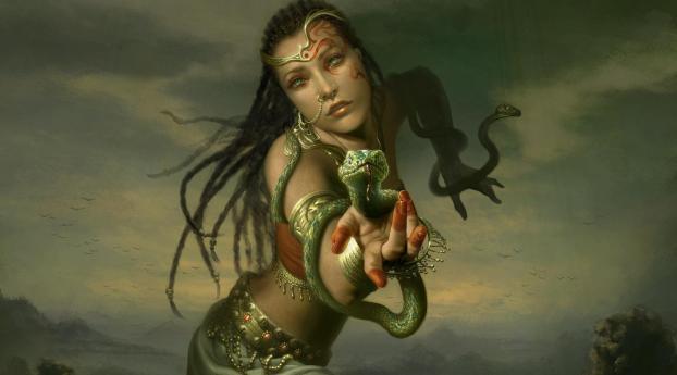 girl, hand, snakes Wallpaper