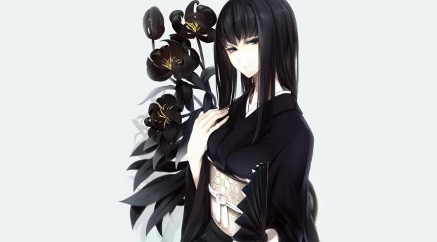 HD Wallpaper | Background Image girl, kimono, irises