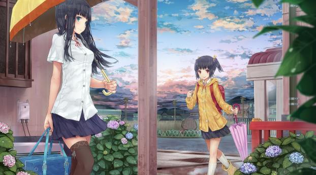 girls, umbrella, rain Wallpaper