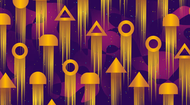 HD Wallpaper | Background Image Golden Geometric Shapes