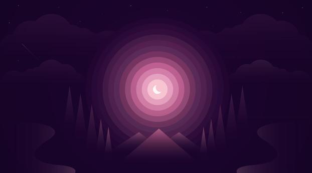 HD Wallpaper | Background Image Gradient Nightscape Digital Art Moon