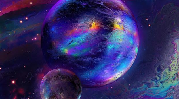 Gradient Sci Fi Planet Wallpaper 1280x800 Resolution