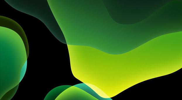 Green iOS 13 Abstract Dark Wallpaper 1280x1024 Resolution