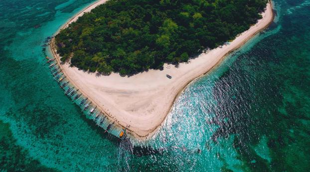 HD Wallpaper   Background Image Green Island Drone View