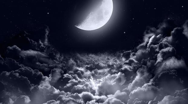 Half Moon Dark Night Wallpaper 320x240 Resolution