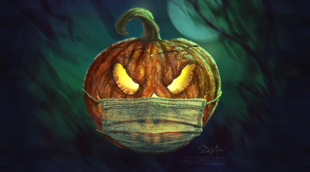 Halloween Jack-O'-Lantern with Mask Wallpaper 720x1280 Resolution