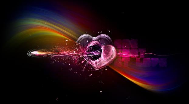 heart, couple, colorful Wallpaper