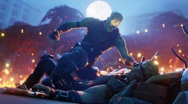 Heroes vs Zombies Fortnite Wallpaper