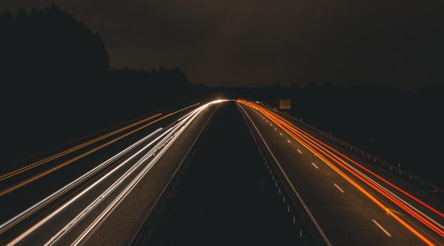 Highway Light In Night 5k Wallpaper