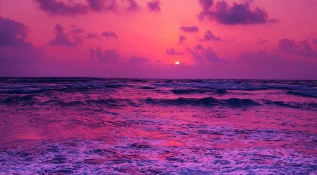 Horizon Pink Sunset Near Sea Wallpaper 800x1280 Resolution