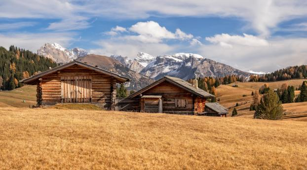 House in Dolomites Wallpaper 1280x2120 Resolution
