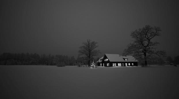 House Landscape Monochrome Wallpaper 1280x2120 Resolution