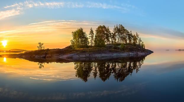 Island Reflection Sunrise View Wallpaper