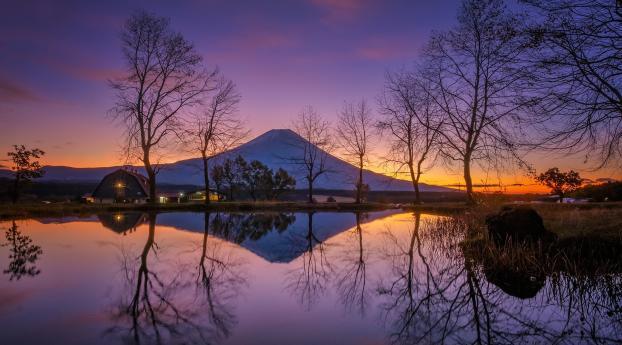 Japan Lake House Wallpaper 1280x2120 Resolution
