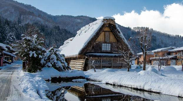 Japan Village Covered in Winter Snow Wallpaper