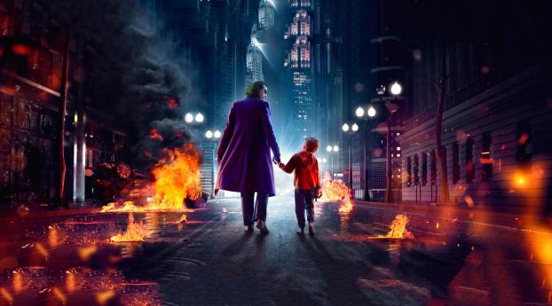 HD Wallpaper | Background Image Joker Walking and Kid