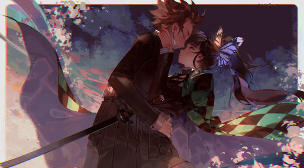 HD Wallpaper | Background Image Kanao Tsuyuri and Tanjirou Kamado