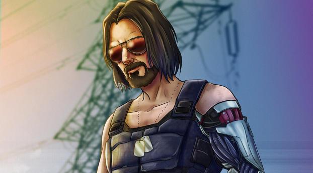 Keanu Reeves as Johnny Silverhand Cyberpunk 2077 Art Wallpaper 1080x2160 Resolution
