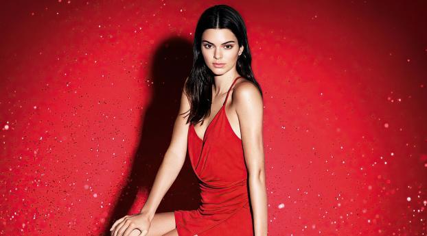 Kendall Jenner Red Dress Model Wallpaper