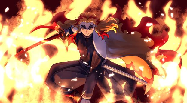 1336x768 Kyojuro Rengoku From Demon Slayer Hd Laptop Wallpaper Hd Anime 4k Wallpapers Images Photos And Background