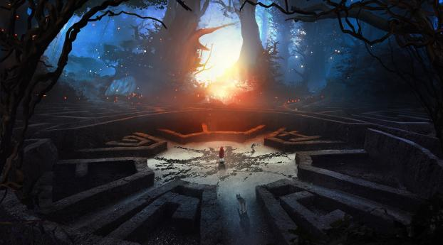 HD Wallpaper | Background Image Labyrinth Wolf And Boy 3D Abstract Fantasy Art