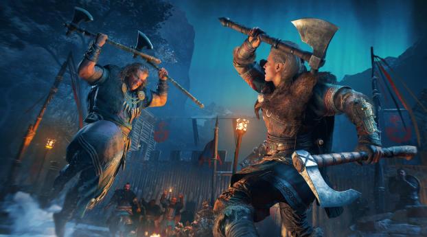 Lady Eivor Fight Assassins Creed Wallpaper